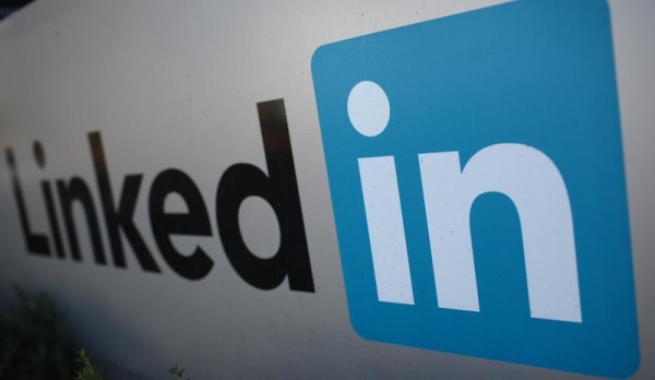 The logo for LinkedIn Corporation, a social networking website for people in professional occupations, is pictured in Mountain View, California Februa...