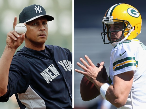 $20 million men: Alex Rodriguez of the New York Yankees and Green Bay Packers quarterback Aaron Rodgers.