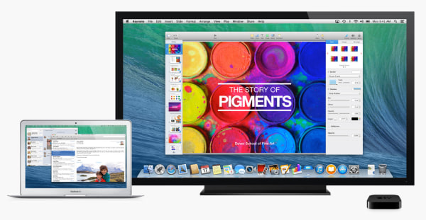 A MacBook Air uses an HDTV as a secondary monitor