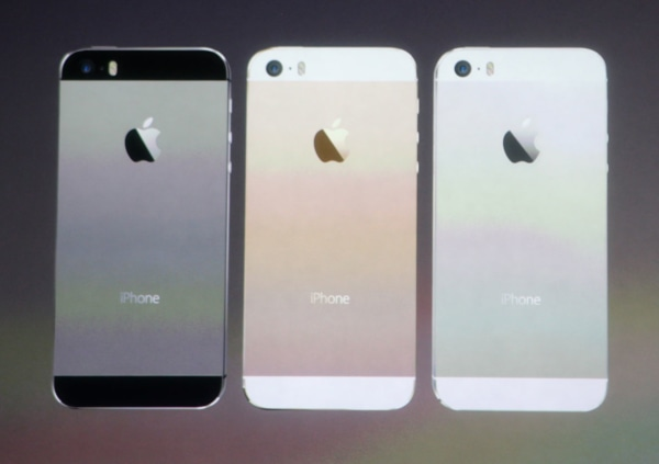 "iPhone 5S finishes silver, gold and ""space gray"""
