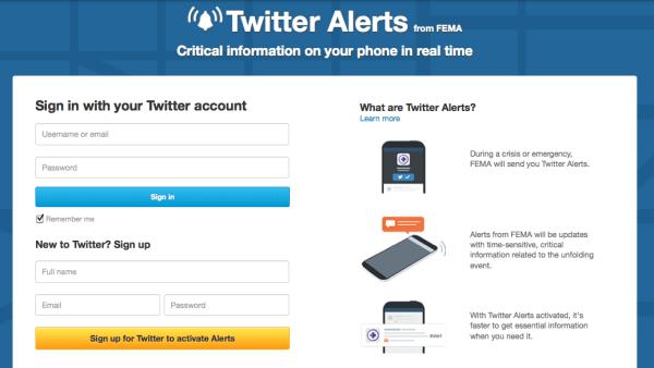 Twitter / FEMA alerts