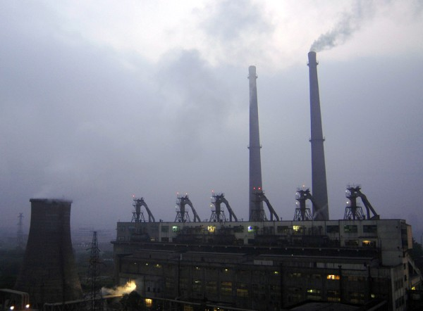 A view of a coal-burning power plant in central China