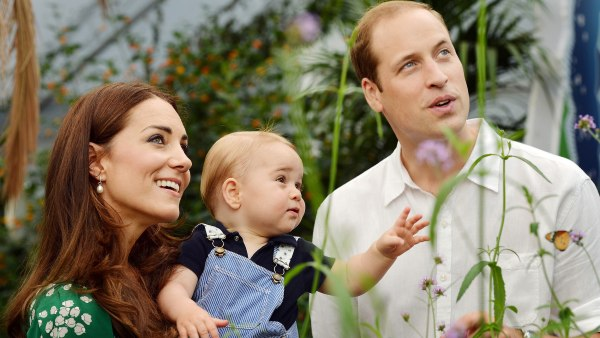 Prince George, with his parents, on his first birthday.