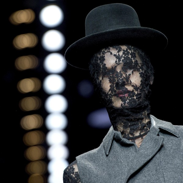 Image: A model shows a creation from the collection of designer Aziz Bekkaoui