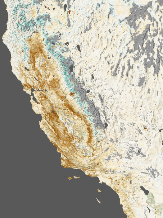 Illustration based on NASA data and satellite imagery shows the impact of drought on California's farms, forests, and wild lands