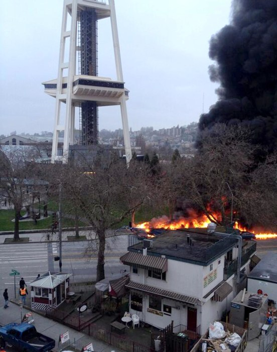 Image:  helicopter that crashed in downtown Seattle