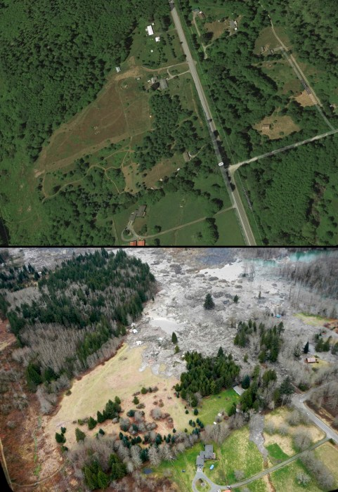 Before and After: mudslide devastated the Washington community