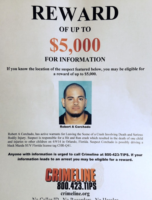 Image: A reward is being offered for information inconnection to Robert Corachado, a suspect in a hit-and-run crash at a daycare in Orlando, Fla.