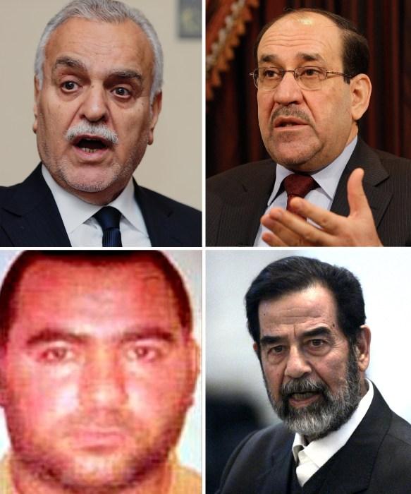 Image: Former Iraqi Vice President Tariq al-Hashemi, Iraqi Prime Minister Nouri al-Maliki, Former Iraqi President Saddam Hussein, and ISIS leader Abu Bakr al-Baghdadi.