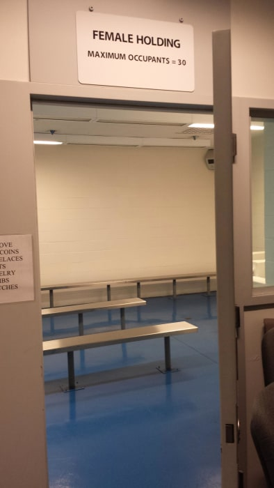 Image: A female holding cell at the detention center in Murrieta, Calif.