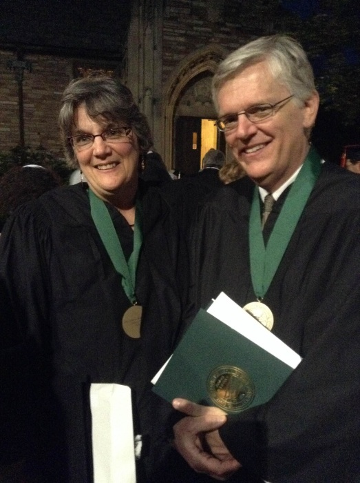 Image: Luanne and Bob Becker at a seminary graduation ceremony in St. Louis where we received an honorary award for the work they've done in Cleveland with refugees and other urban residents.