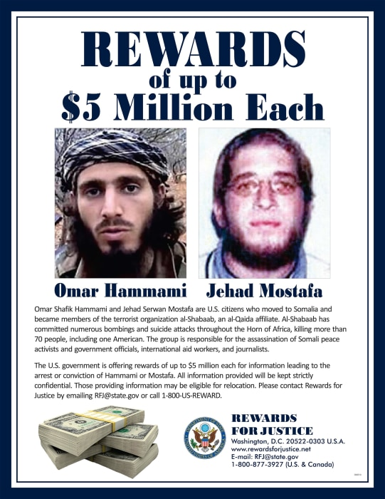 Image: A wanted poster for U.S. citizens Omar Shafik Hammami and Jehad Serwan Mostafa, members of the terrorist organization al-Shabaab, an al-Qaida affiliate.