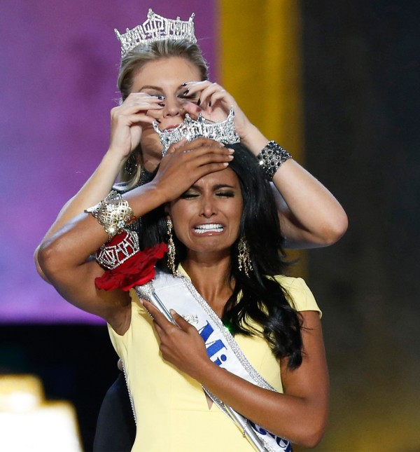 Image: Miss America contestant, Miss New York Nina Davuluri reacts after being chosen winner of the 2014 Miss America Pageant in Atlantic City, New Jersey