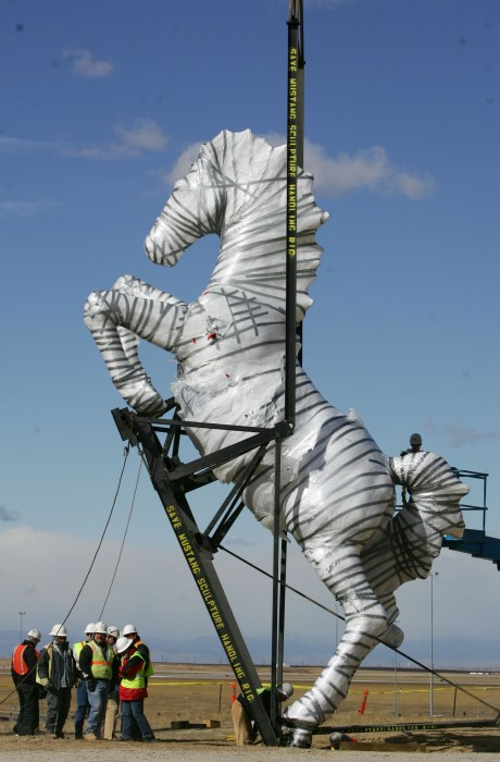 Image: Installation of Luis Jimenez Sculpture