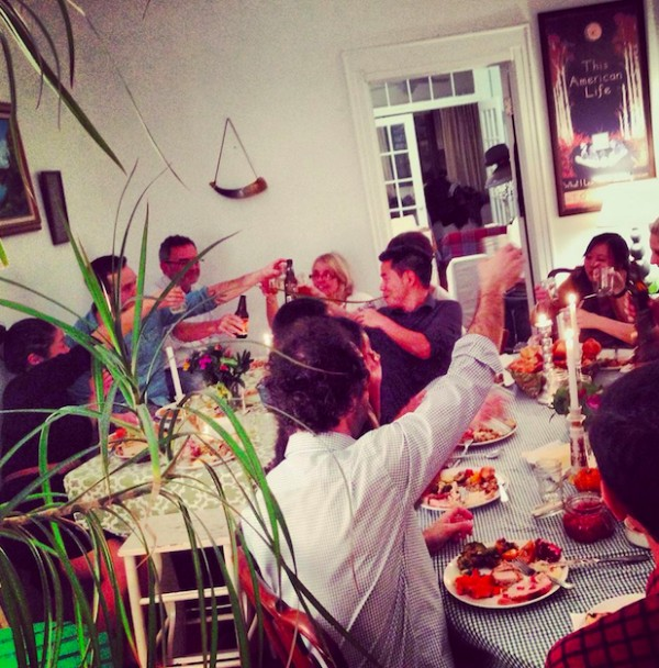 A Thanksgiving toast at Yuri and Mike's Brooklyn home.