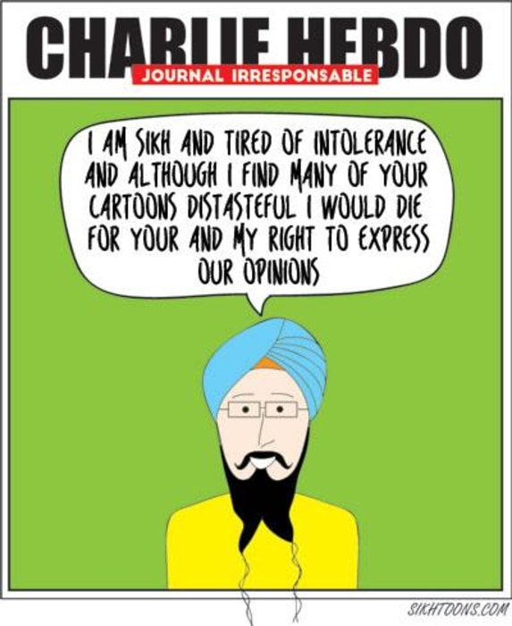"One of several cartoons by Vishavjit Singh, in his ""Sikh response to Charlie Hebdo tragedy."""