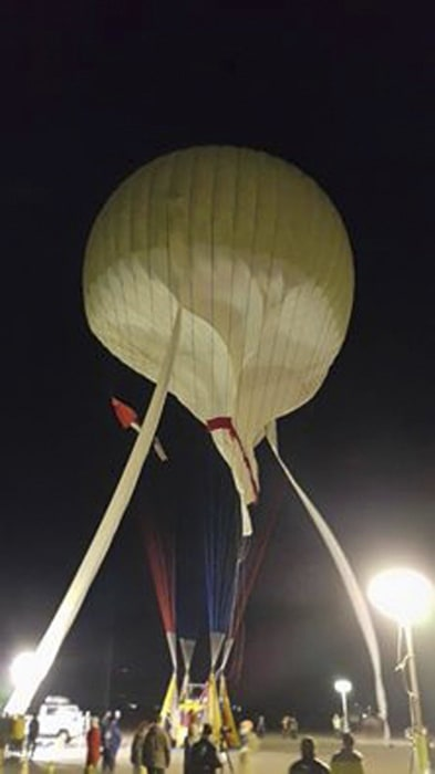 Image: Two Eagles balloon is readied for flight in an attempt to cross the Pacific by balloon and set a new world record for distance and duration record for gas balloon travel, in Saga