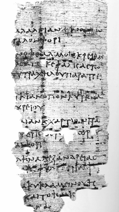 Image: Greek papyrus containing recipe for 'drunken' headache