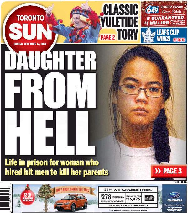 A Toronto Sun cover during Jennifer Pan's trial.