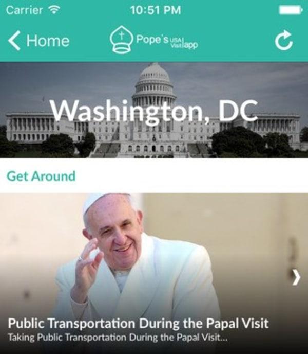 Image: Pope's USA Visit app