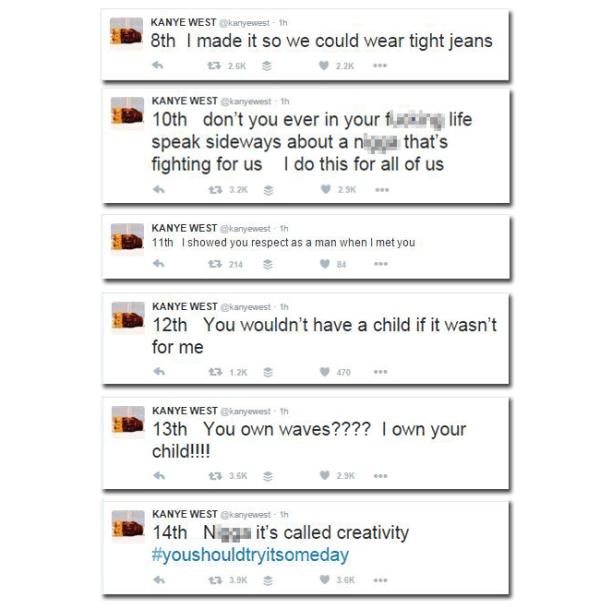 Image: Kanye responded to Wiz Khalifa on Twitter.