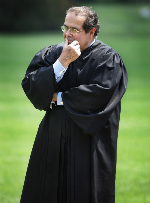 Image: Scalia listens to President Bush speak during a swearing-in ceremony