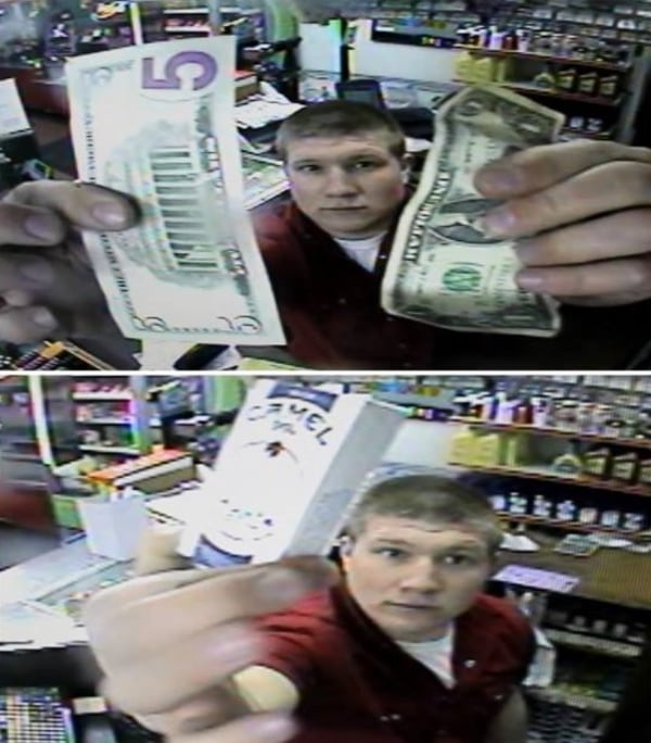 IMAGE: Man paying for cigarettes in store he broke into
