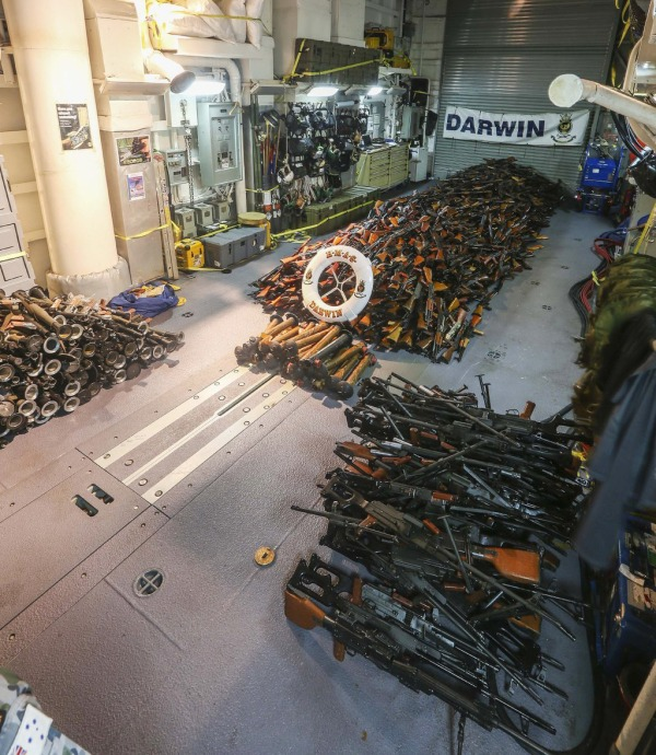 Image: Thousands of weapons were found on a fishing boat bound for Somalia