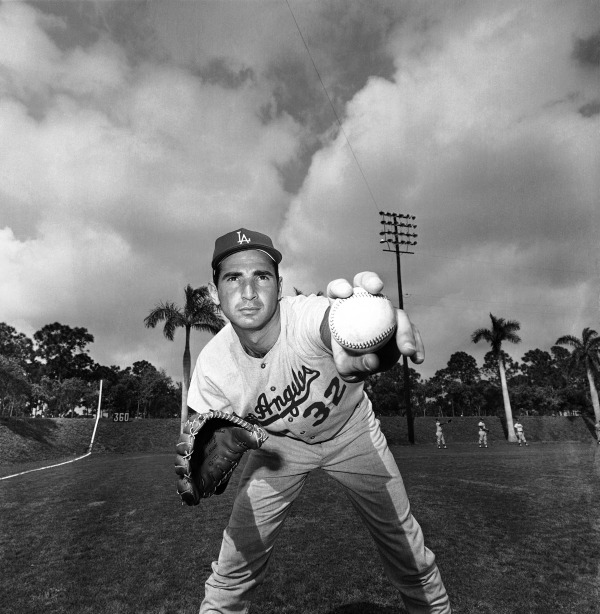 Los Angeles Dodgers southpaw Sandy Koufax, one of baseball's most famous Jewish players.