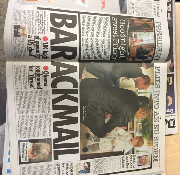 """Image: Britain's newspaper The Sun reported Obama's Brexit intervention under the headline """"BARACKMAIL."""""""