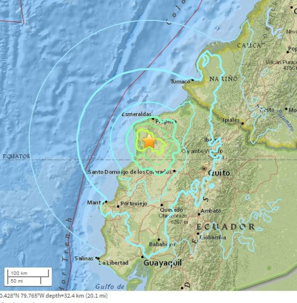 Image: Map showing location of Ecuador earthquake