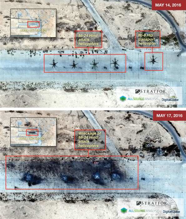 Satellite imagery shows the T4 Syrian air base near the city of Palmyra before and after a reported Islamic State artillery attack.