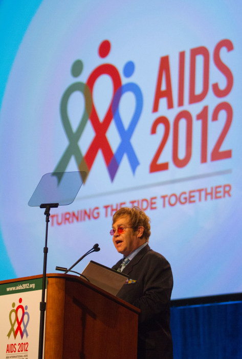 Sir Elton John speaks during a panel discussion at the 19th
