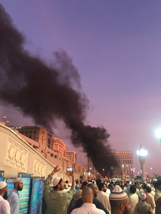 Image: Smoke rises from Al-Masjid an-Nabaw in Medina, Saudi Arabia, on July 5.