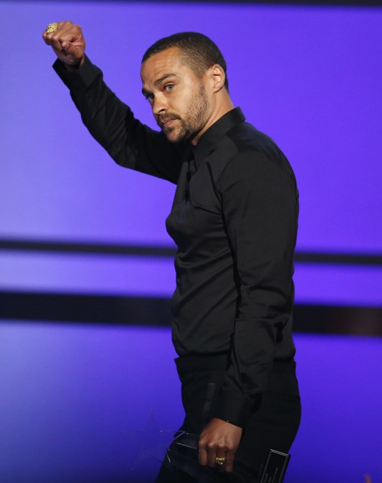 Image: Jesse Williams accepts the humanitarian award at the BET Awards