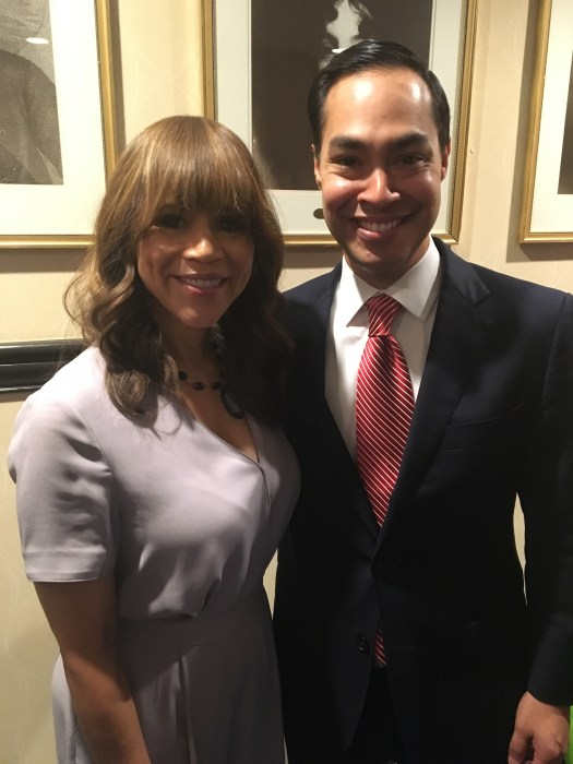 Actress Rosie Perez and Housing and Urban Development Sec. Julian Castro.