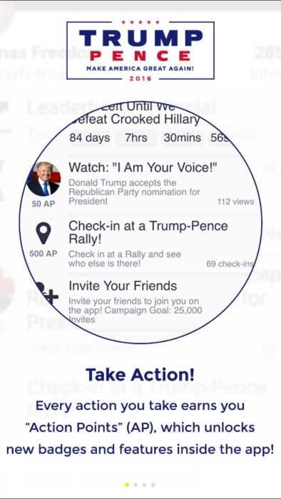 America First is part social network and part competition, gamifying the election.