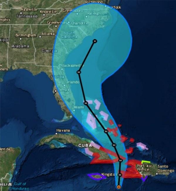 Map Usa Hurricane Matthew IMAGE: Hurricane Matthew forecast map