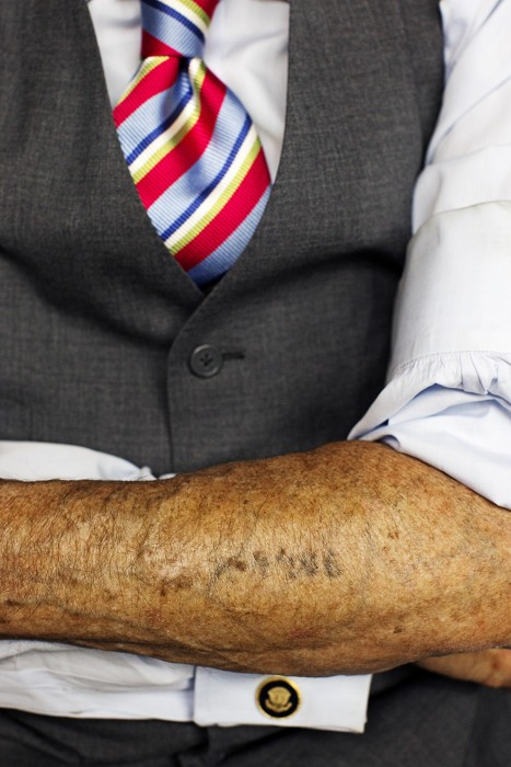 """Image: Martin Greenfield was tattooed the serial number """"A4406"""" upon entering Auschwitz concentration camp"""