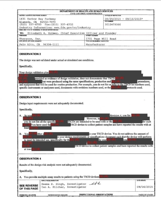 Theranos FDA inspection report
