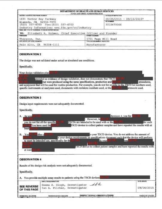 Theranos FDA inspection report