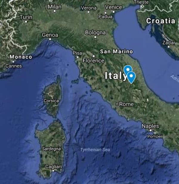 Image: Two earthquake locations in Italy