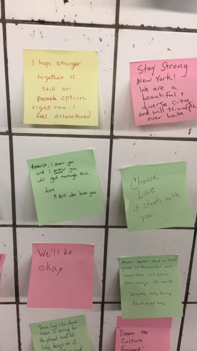Image: New York subway protest notes