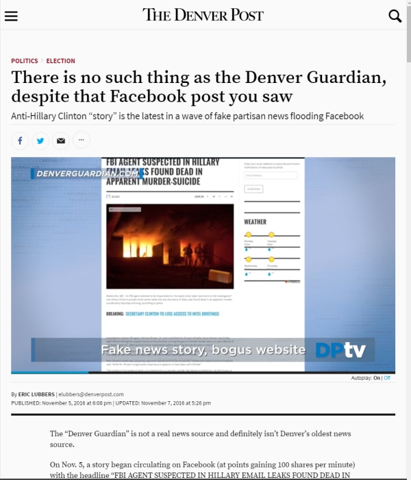 "Image: The Denver Post published a story with the headline"" There is no such thing as the Denver Guardian, despite that Facebook post you saw."