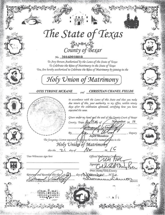 IMAGE: Otis McKane marriage certificate