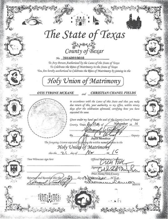 IMAGE: Otis McKane marriage certificate