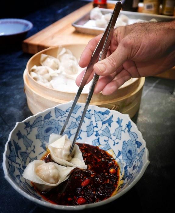 Chef Mark Fuller of New Luck Toy Making Pork and Shrimp Dumpling