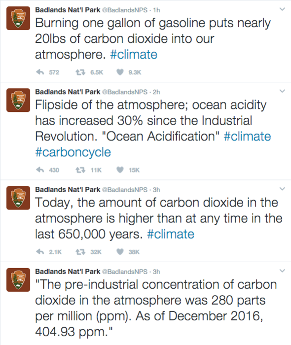 The Badlands National Park's tweets about climate change were later deleted.