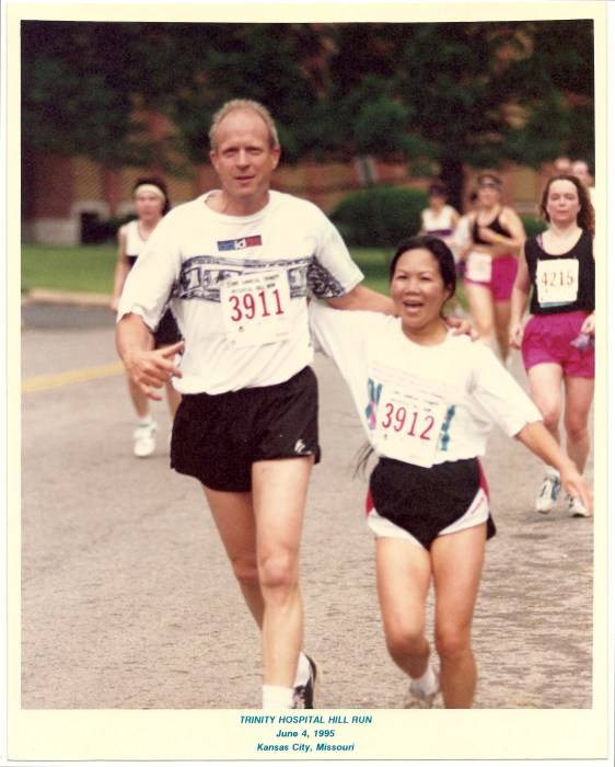 Chau and Michael Smith running their first race together in Kansas City in 1995.