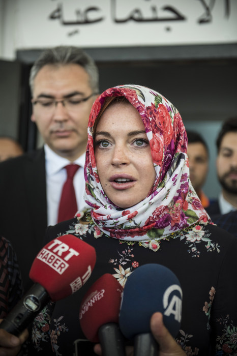 Image: Actress Lindsay Lohan speaks to press in Gaziantep, Turkey